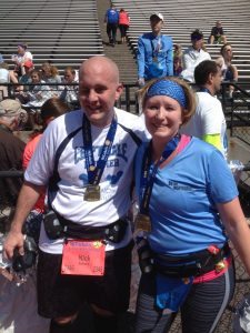2016 St. Luke's Half Marathon Finishers - Nick & Erica! (It was fun running through the finish together.)