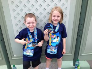 Elaina and Alex - Finishers of the 2016 runDisney Tinkerbell Kids Races!
